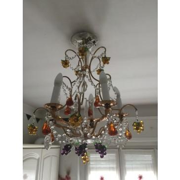 Lustre à pampilles de cristal et fruits colorés en verre de Murano