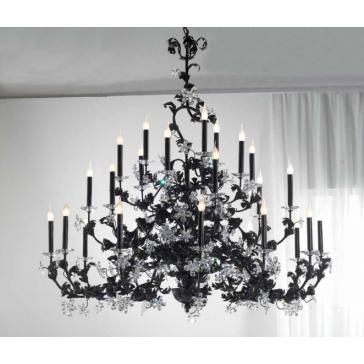 Fabuleux lustre à fleurs de cristal, en fer forgé artisanal