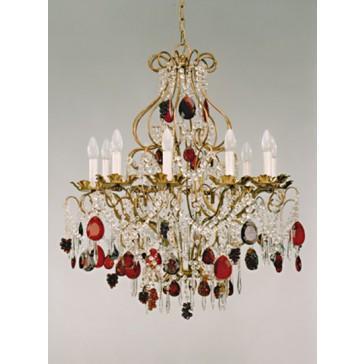 Lustre baroque revisité à pampilles de cristal de couleur et fruits de verre de Murano