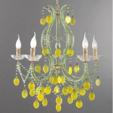Incroyable lustre baroque revisité à pampilles jaunes
