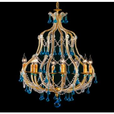 Superbe lustre cage 8 lumières d'inspiration baroque à pampilles de verre de Murano
