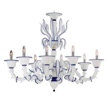 Lustre design de Murano, blanc rehaussé de bleu