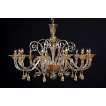 Lustre artisanal en verre artisanal de Murano, travaillé à la feuille d'or