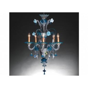 Lustre vénitien floréal à camaïeu de fleurs bleues