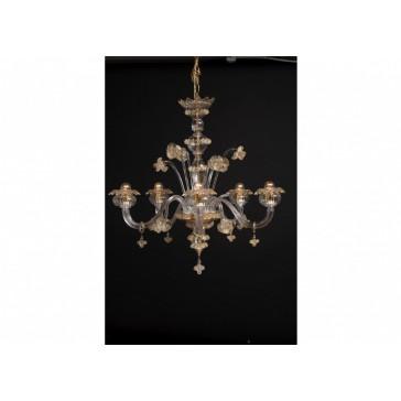 Lustre de Murano, de type floréal,en verre de Venise soufflé de Venise