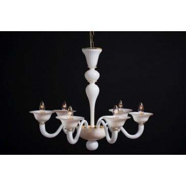 Lustre en verre blanc de Venise travaillé à l'or, typique de années 60