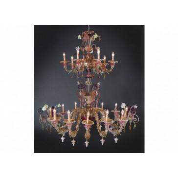 Exceptionnel lustre Murano en verre de Venise, sur 2 niveaux
