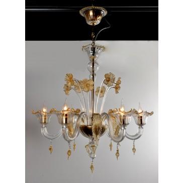 Lustre artisanal typique de Murano, en verre artisanal de Venise soufflé
