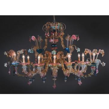 Lustre artisanal de Murano en bouquet de fleurs