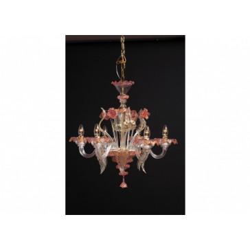 Lustre de Murano en verre de Venise soufflé, tout en délicatesse dans ses tons de rose