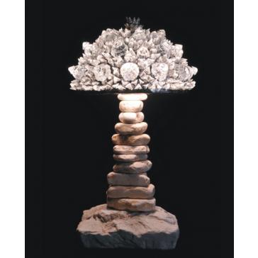 Lampe artisanale fabriquée à partir de verre recyclé, modèle glacé