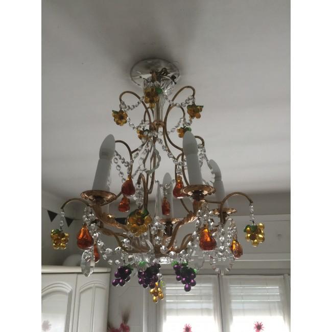 lustre pampilles de cristal et fruits color s en verre. Black Bedroom Furniture Sets. Home Design Ideas