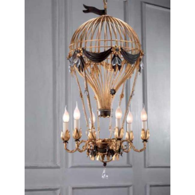 lustre en fer forg dor en forme de montgolfi re lustres baroques florentins de fabrication. Black Bedroom Furniture Sets. Home Design Ideas