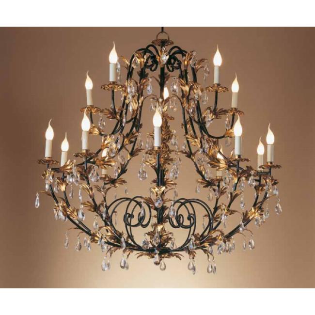 grand lustre pampilles en fer forg patin et dor la feuille d 39 or lustres baroques i. Black Bedroom Furniture Sets. Home Design Ideas