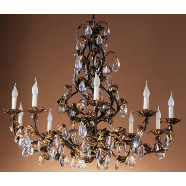 lustre en fer forg florentin feuilles dor es et. Black Bedroom Furniture Sets. Home Design Ideas