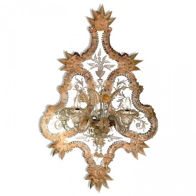 Exceptionnelle applique miroir en verre artisanal de for Miroir artisanal