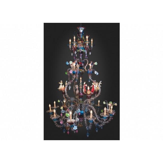 enorme lustre flor al multicolore de murano en verre de. Black Bedroom Furniture Sets. Home Design Ideas