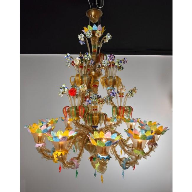 Lustre exceptionnel en verre soufflé de murano avec fleurs de toutes les couleurs