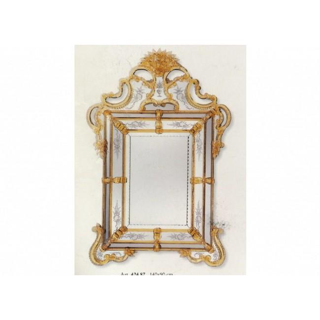 Glace rectangulaire baroque parecloses traditionnelle de murano miroirs v nitiens de murano for Glace rectangulaire