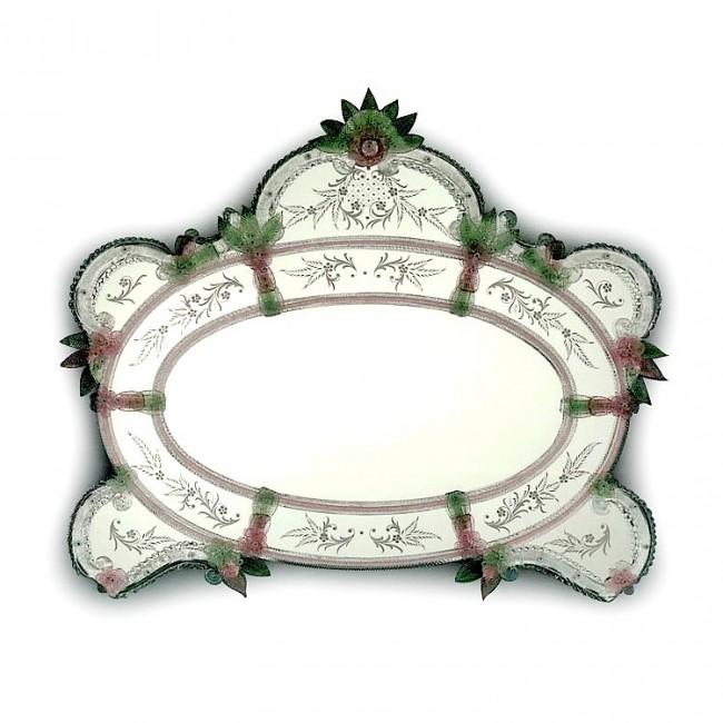 magnifique miroir de murano d cor et grav la main de style v nitien du xviii me i. Black Bedroom Furniture Sets. Home Design Ideas