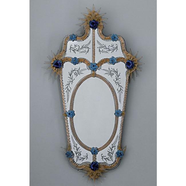 Magnifique miroir v nitien artisanal rehauss de fleurs for Miroir artisanal