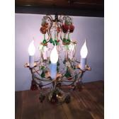Girandole artisanale à pampilles de cristal, lustre de table