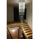 Lustre style fontaine de lumière à pampilles de cristal