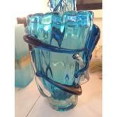 Vase modèle Ice à spirale de fabrication artisanale en verre artisanal de Murano