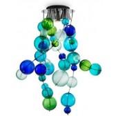 Fontaine de lumière à boules de verre soufflé de Murano colorées