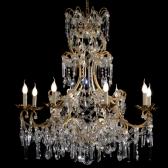 Lustre artisanal à pampilles de cristal taillé et chapelets de pampilles