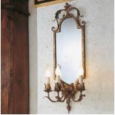 Applique trumeau en fer forgé florentin, miroir
