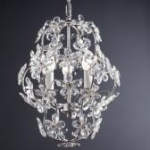 Lustre cage de style baroque avec des fleurs de cristal