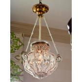 Lustre plafonnier de style lanterne à pampilles de cristal
