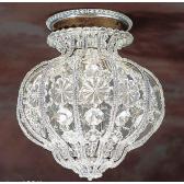 Plafonnier de style baroque à pampilles et marguerites de cristal