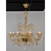 Lustre traditionnel en verre de Venise soufflé rehaussé d'or fin
