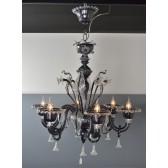 Lustre baroque noir et verre transparent rehaussé d'or en verre soufflé de Murano,