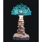 Lampe artisanale fabriquée à partir de verre recyclé, modèle vert brillant
