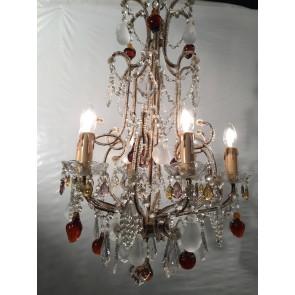 Lustre baroque style cage à 6 lumières et pampilles colorées en forme de fruits
