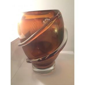 Vase Saturne artisanal en verre de Murano, ruban de verre en application