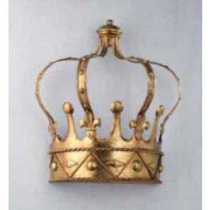 Applique en forme de couronne, en fer forgé doré à la feuille