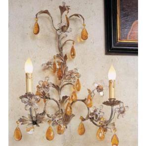 Applique à pampilles de couleur et fleurs de verre
