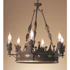 Grand modèle de lustre couronne en fer forgé