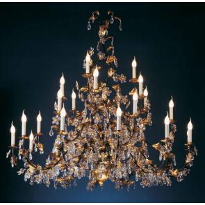 Merveilleux lustre à fleurs de cristal, doré à l'or fin