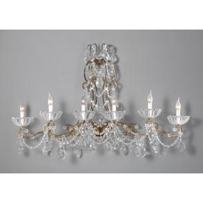 Exceptionelle applique baroque à pampilles de cristal, 6 bras de lumière