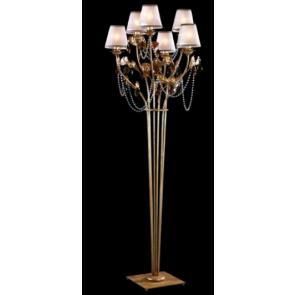 Lampe sur pied d'inspiration baroque à pampilles de cristal de Bohème