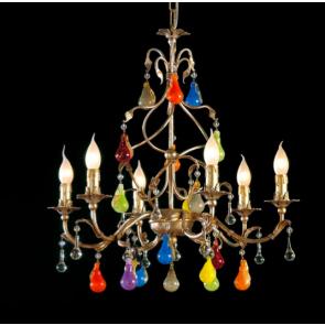 Lustre baroque à fruits colorés en verre artisanal de Murano