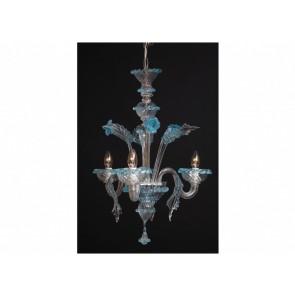 Lustre baroque en  verre transparent rehaussé de bleu et d'or en verre soufflé de Murano