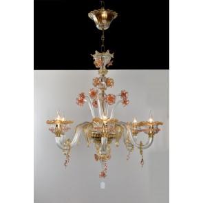 Lustre en verre soufflé de Venise rehaussé d'or, travail artisanal de Murano