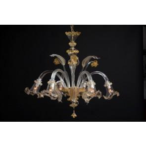 Lustre traditionnel de Murano, verre de Venise travaillé à l'or