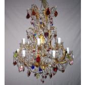 Lustre baroque, fabrication artisanale à pampilles de couleur, 12 bras de lumière